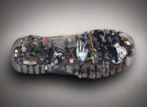 The sole of a show with industrial waste