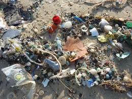 Ocean Plastics Pollution on beach - for micro-plastics article/blog